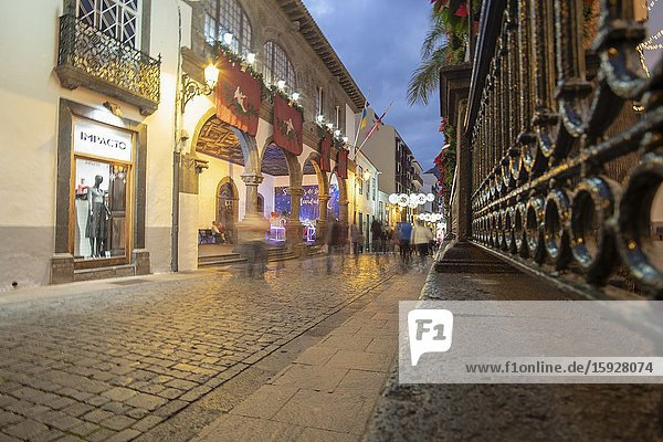 Santa Cruz de la Palma in La Palma island Canary islands Spain on December 11  2019: Christmas lights in the colonial city.