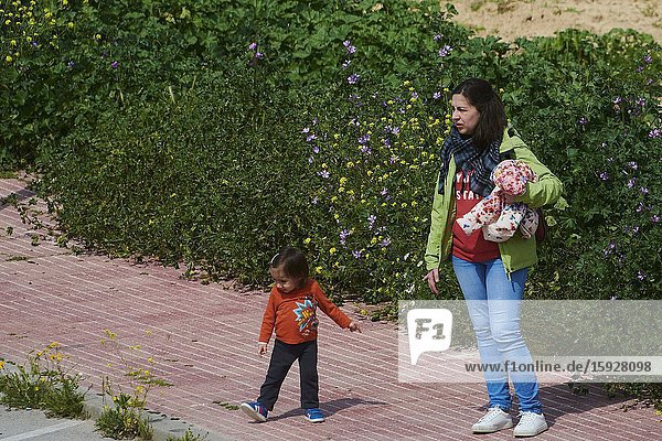 Children play with their parents in the field after 45 days at home without being able to leave as a measure of confinement for the Covid-19 on April 26  2020 in Madrid  Spain.Children in Spain  which has had one of the stricter lockdowns in Europe  are now allowed to leave their homes for up to an hour per day. The country has had more than 220 000 confirmed cases of COVID-19 and over 20 000 reported deaths  although the rate has declined after weeks of quarantine measures
