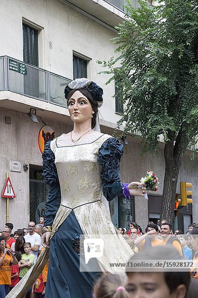 Tarragona Catalonia Spain on September 21  2019: Giants and big headeds parade during St Tecla feasts.