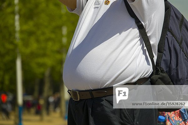 Overweight male with belly.