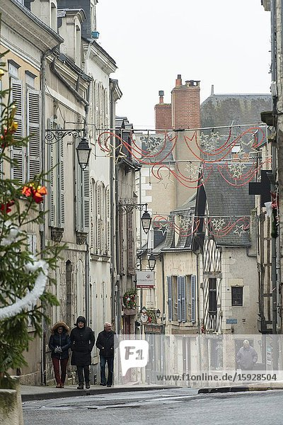 BLOIS FRANCE ON JANUARY 1  2020: St Nicholas district in Christmas time.