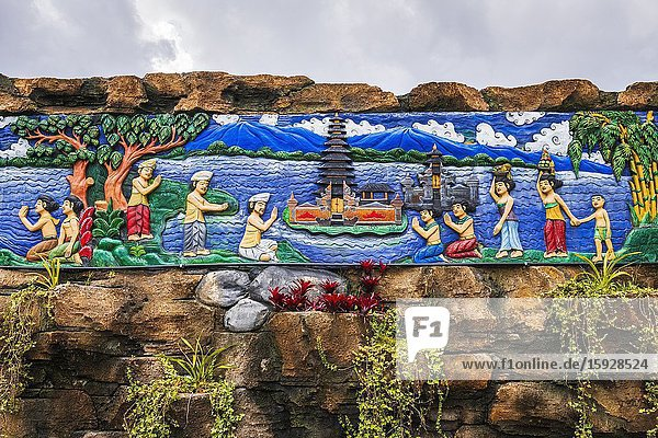 Wooden mural depicting the legend of Ulun Danu Beratan Temple  Bali  Indonesia.