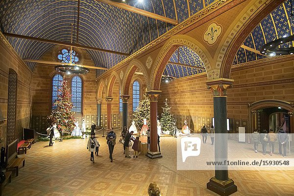 Blois France on December 30  2019: Interior of the Chateau Royal de Blois is located in the departement in the Loire Valley. The medieval french castle was built in 15-16 century  an architectural mixture of late Gothic and early Renaissance.