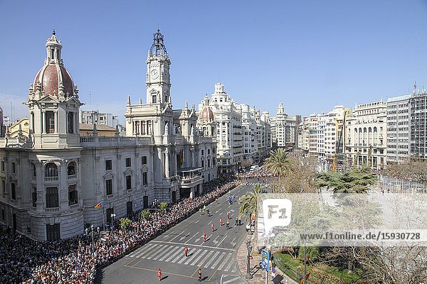 The city Hall square during the celebration of the Mascleta Valencia Spain.