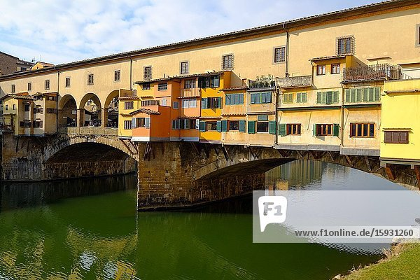 The Ponte Vecchio,  Old Bridge,  over the Arno river,  Florence,  Tuscany,  Italy,  Europe