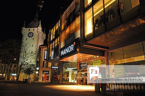 Zürich/Switzerland: The Commerce and night life in Baden has come to a still stand in times of Corona Lockdown.