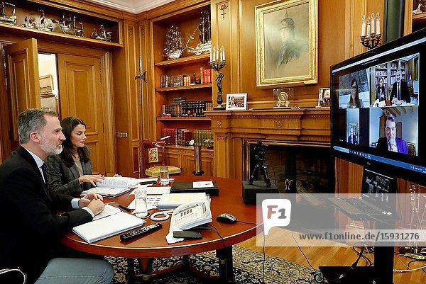 King Felipe VI of Spain  Queen Letizia of Spain attends videoconference with major national and international leaders in Spanish society at Zarzuela Palace on April 29  2020 in Madrid  Spain.Rafa Nadal  Isabel Coixet  Antonio Banderas  Maria Blasco  Valentin Fuster  Edurne Pasaban  Fernando Alonso