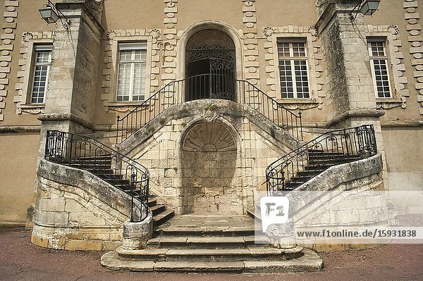 Stairway to the Priory of La Reole  La Reole  Gironde Department  Aquitaine  France.