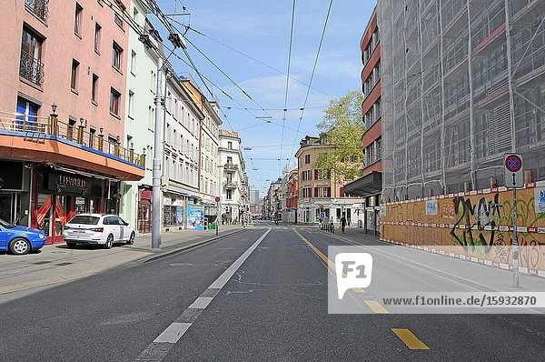 Never seen before: Zürich/Switzerland in times of Corona CoVid19 Virus Lockdown with closed shops  boutiques  bars and empty Langstrasse.