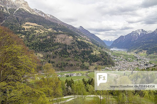 View of Switzerland landscape from the Bernina Express train on April 17  2017.
