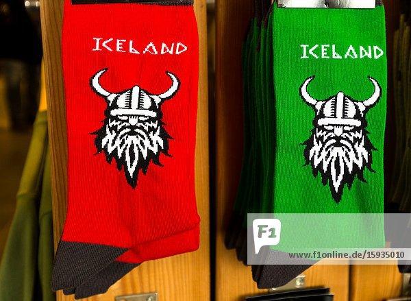 New socks on display. Icelandic gift shop Iceland.
