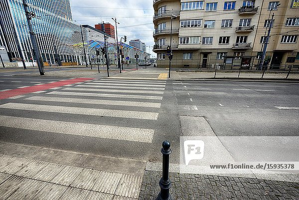 Europe  Poland  Lodz  March 2020  empty streets of city center during the coronavirus pandemic.