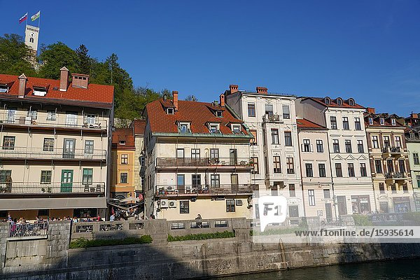 Ljubljanica River,  downtown Ljubljana,  the capital and largest city of Slovenia,  Europe