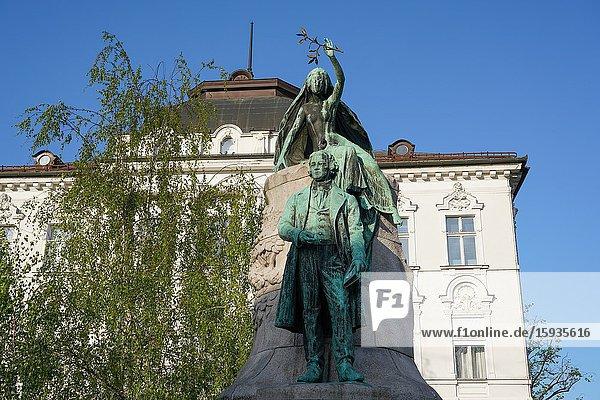 France Prešeren Monument  Ljubljana  the capital and largest city of Slovenia  Europe