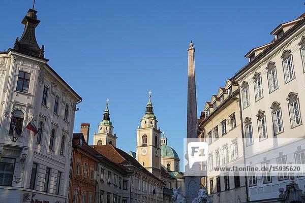 Ljubljana Cathedral and Robba Fountain at Town Square  Ljubljana  Slovenia  Europe