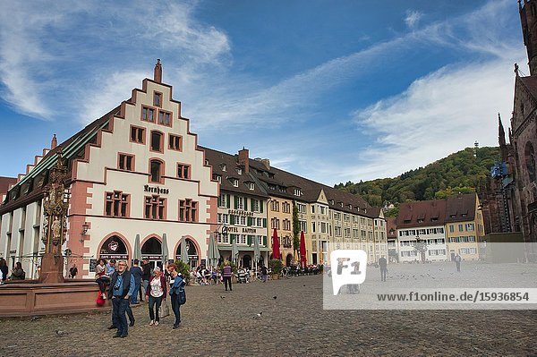 Cathedral Square  Freiburg  Baden-Wurttemberg  Germany.