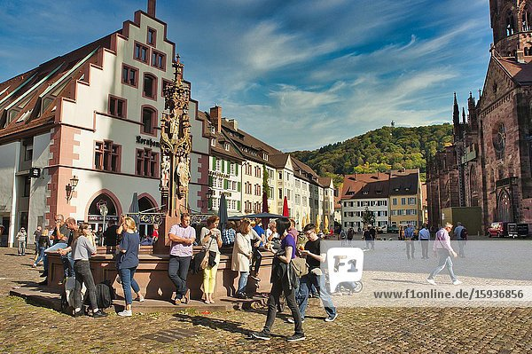 People gathered at a fountain in Cathedral Square  Freiburg  Baden-Wurttemberg  Germany  Freiburg  Baden-Wurttemberg  Germany.
