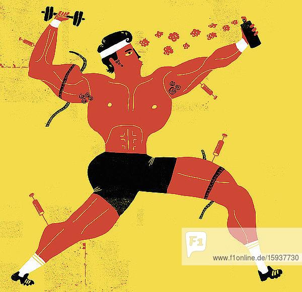 Muscular body builder using drugs