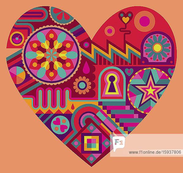 Leuchtendes Muster bildet eine Herzform