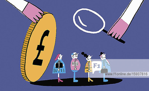 Magnifying glass examining people under pound coin