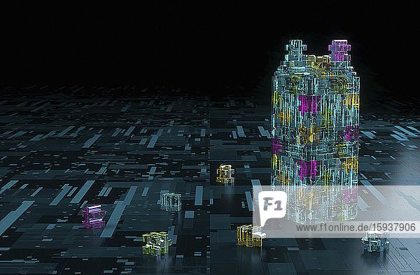 3D structure built from pieces of computer circuit board jigsaw