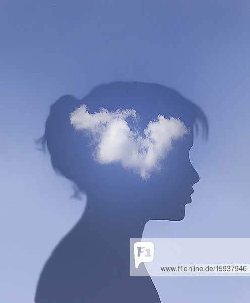 Woman with white cloud inside of head