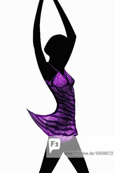 Dancer in translucent folded paper dress