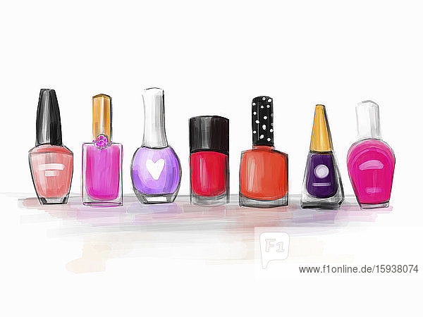 Row of different nail varnishes