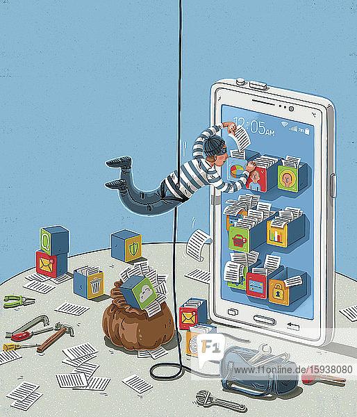 Cat burglar breaking in to digital data files on smart phone