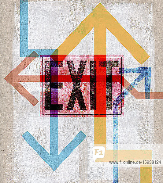 Confusion of arrows over exit sign