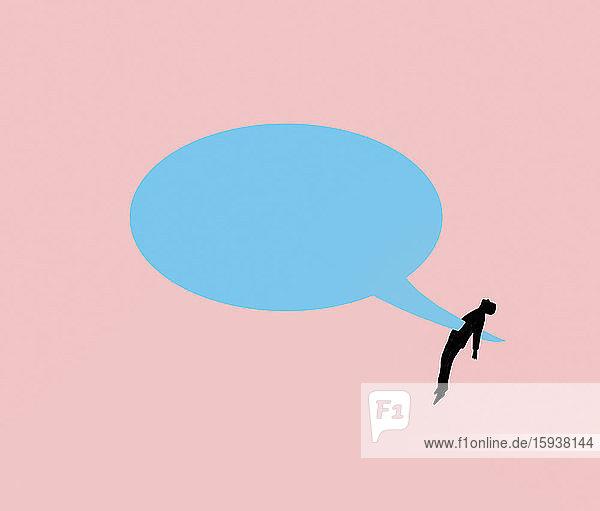 Man skewered by speech bubble
