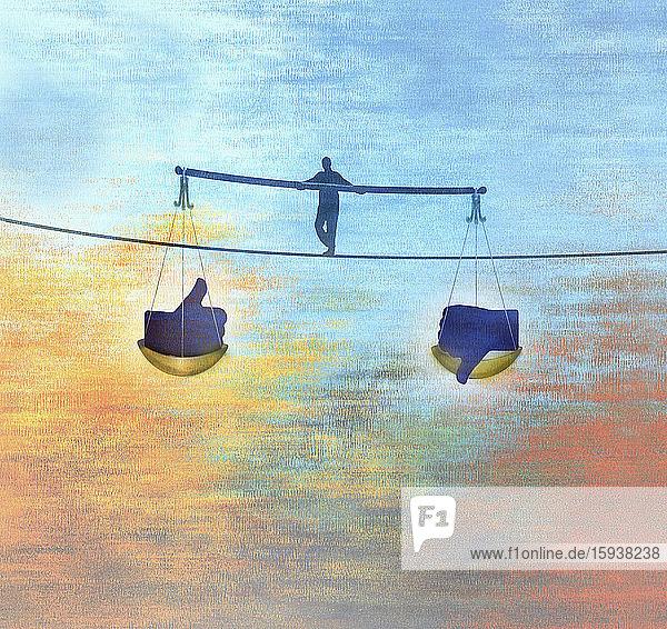 Man walking tightrope balancing likes and dislikes