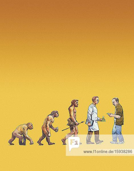 Man using mobile phone as backward step in human evolution