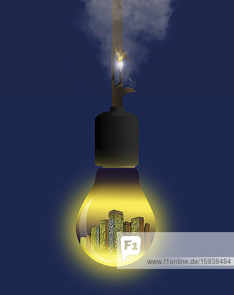 Electric wire burning on light bulb containing city
