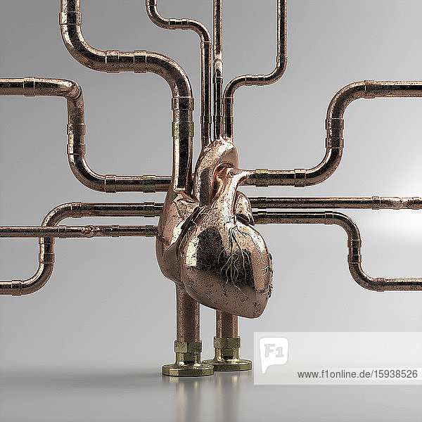 Metal pipework connected to human heart