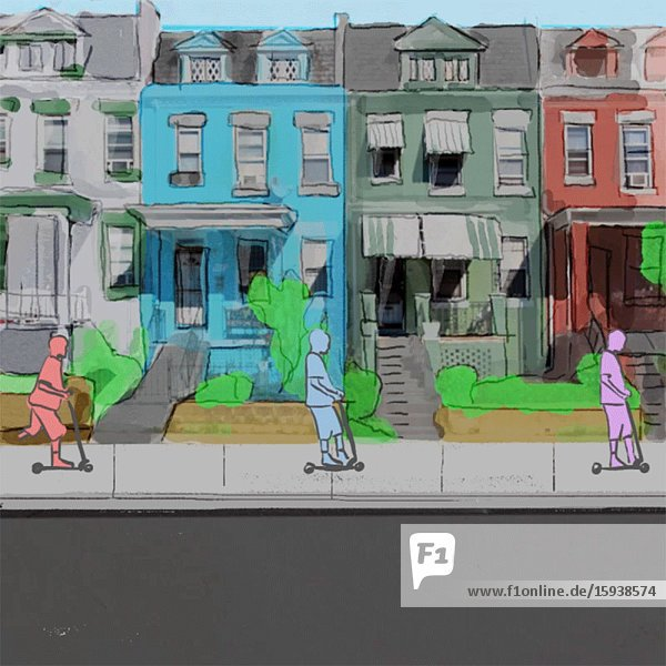 People Riding Scooters on Urban Residential Sidewalk Animation