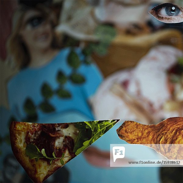 Abstract Girl Leaping over Food & Drink Montage