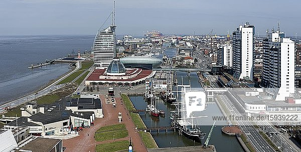 City view  harbour worlds  aerial view  Bremerhaven  Germany  Europe