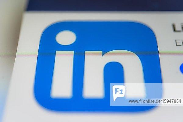 LinkedIn App  Soziales Netzwerk  App-Icon  Bildschirmfoto  Smartphone  Detail  formatfüllend