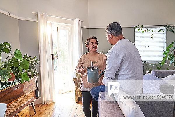 Reifes Paar gießt Pflanzen und unterhält sich im Wohnzimmer