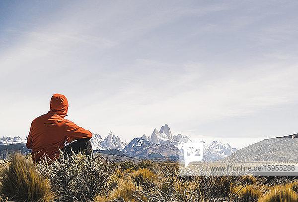 Hiker resting in remote landscape in Patagonia  Argentina