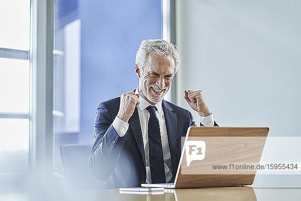 Erfolgreicher Geschäftsmann mit Laptop am Schreibtisch im Büro Erfolgreicher Geschäftsmann mit Laptop am Schreibtisch im Büro