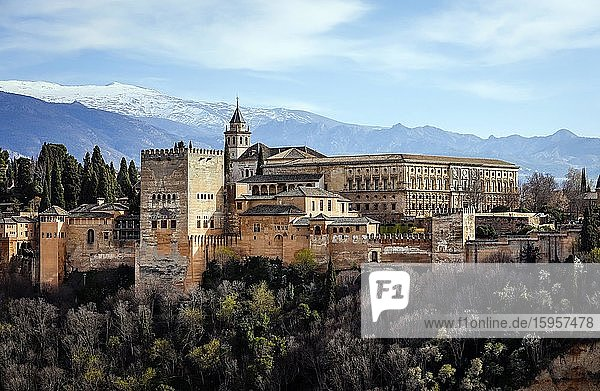 Moorish city castle Alhambra  Nasrid palaces  palace of Charles V.  in the back snow-covered Sierra Nevada  Granada  Andalusia  Spain  Europe