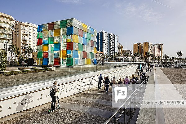Glass cube of the Centre Pompidou  new harbour district with harbour promenade Muelle Uno  Malaga  Andalusia  Spain  Europe