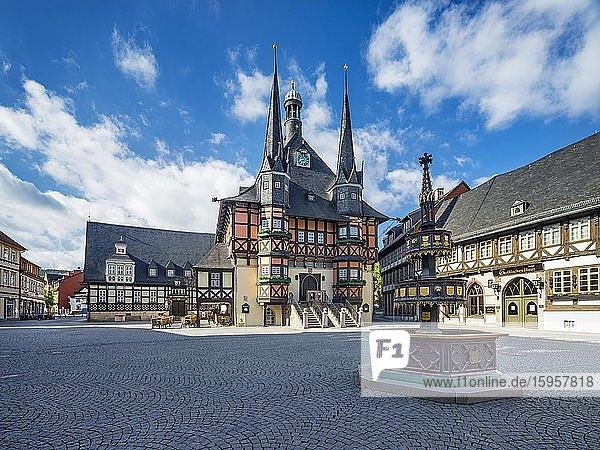 Marktplatz,  Marktbrunnen und historisches Rathaus,  Wernigerode,  Harz,  Sachsen-Anhalt,  Deutschland,  Europa