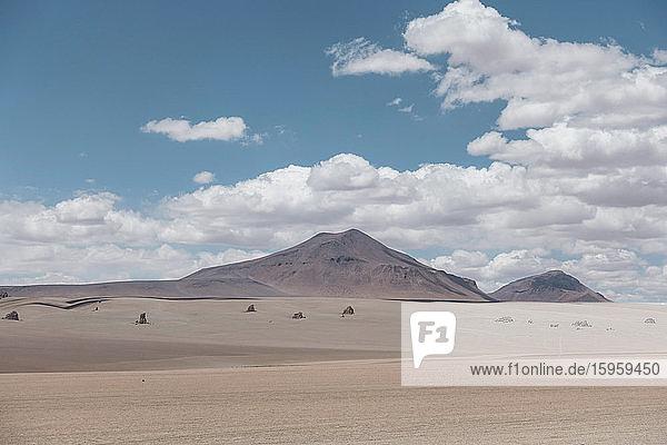 Blick über die Salinen von Uyuni  Salar de Uyuni  Uyuni  Bolivien.
