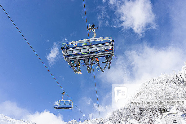 Low angle view of ski lift in Chamonix  France.