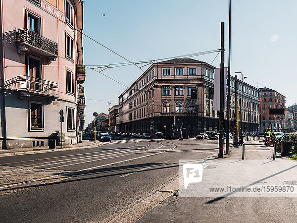 View along empty streets during Corona virus lockdown in Milan  Italy.