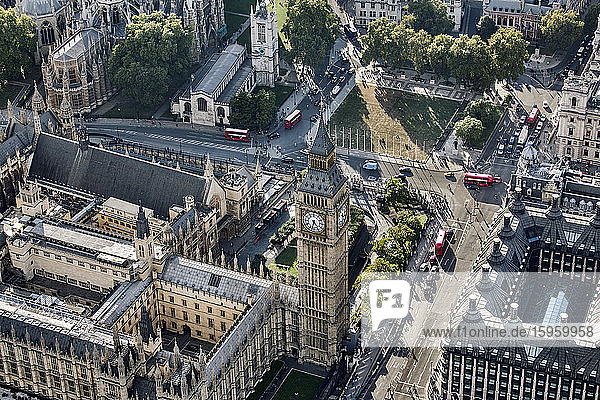 Aerial view of Big Ben and Parliament Square in London  the Houses of Parliament.