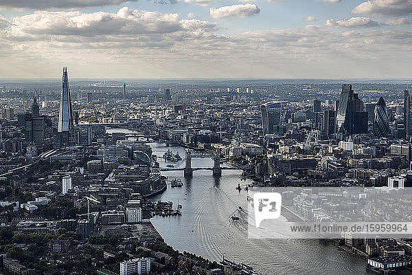 Aerial view of the Shard  Tower Bridge  Walkie Talkie  Gherkin and River Thames  London  UK